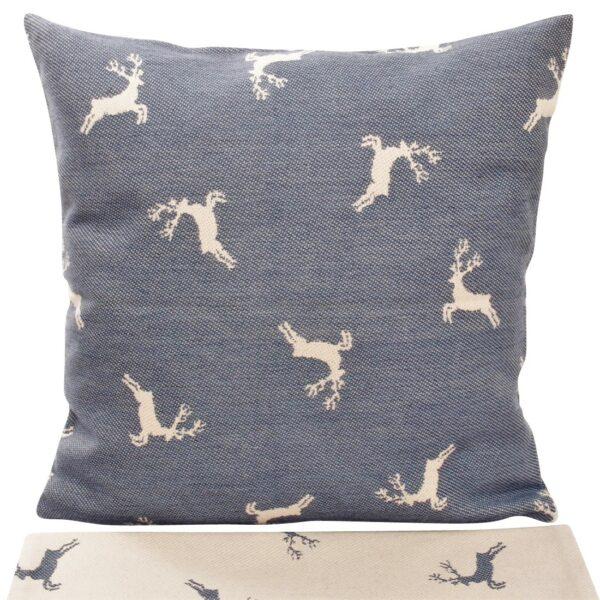 federa cuscino in cotone tessuto jacquard, fantasia cervi allover, stile tirolese, blù