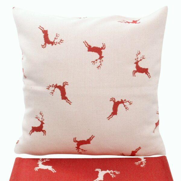 federa cuscino in cotone tessuto jacquard, fantasia cervi allover, stile tirolese, rosso/marrone