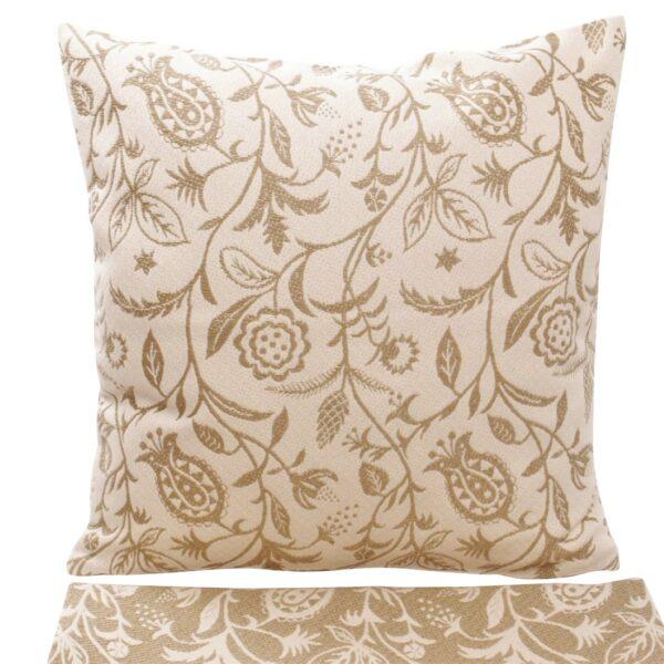 federa cuscino in cotone tessuto jacquard, fantasia floreale, melograno, neutro