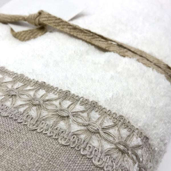 Handtuch-Set in Frotte mit Leinenborte, 2x Handtücher + 2x Gästetücher, Farbe Taupe und Weiß