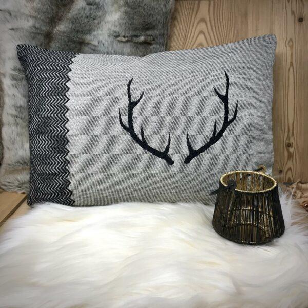 """""""COR"""" federa cuscino, stile tirolese montagna, Lana MERINO e cotone, 30 x 50 cm, colore nero e bianco"""