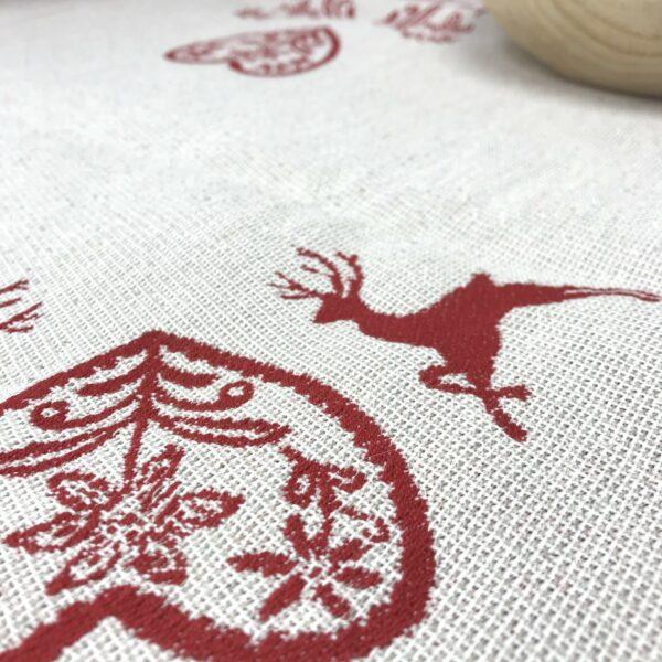 """""""Hirsch und Herzmotiv"""" Mitteldecke, Landhausstil, 100% Baumwolle Jacquard, 90 x 90 cm, Farbe rot"""