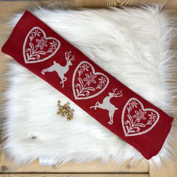 """""""Cervi e Cuore"""" cuscino con NOCCIOLI DI CILIEGIA per la cervicale, stile tirolese montagna, 100% cotone, 50 x 14 cm, colore rosso"""