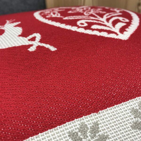 """""""Cervi e Cuore"""" federa cuscino, stile tirolese montagna, 100% cotone, 44 x 44 cm, colore rosso e beige (2)"""