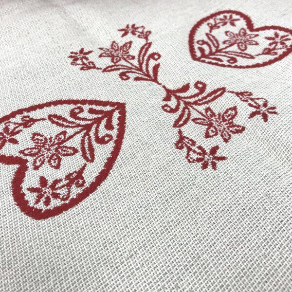 """""""Cervi e Cuore"""" tovaglietta, stile tirolese montagna, 100% cotone, 90 x 90 cm, colore beige e rosso"""