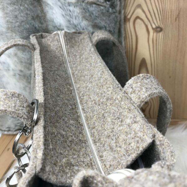 "Filztasche Damentasche, Alpenstil chic, aus 100% echtem Wollfilz, ""Marghy"", Farbe braun"