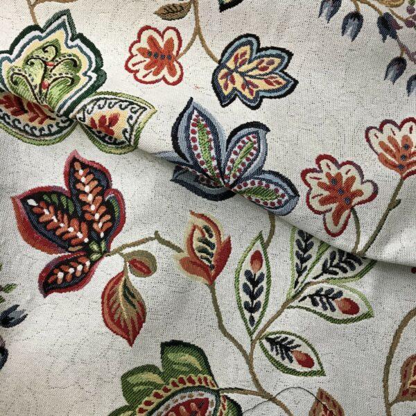 Gobelin Stoff Meterware mit Blumen Pflanzen-Motiv, für Polster, Tischdecke, Kissen