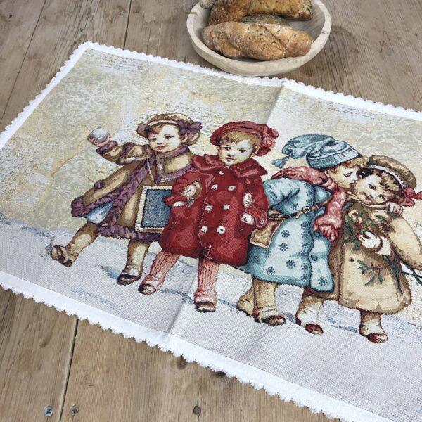 Tischläufer mit Kinder Motiv, Gobelin, 43x70 cm, bunt