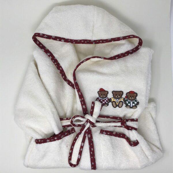 Kinderbademantel mit Kapuze und Taschen, Stickmuster Bären,  von 1 bis 6 Jahren, 100% Baumwolle Frottee, Farbe Rot